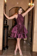 Load image into Gallery viewer, Unique A Line High Neck Taffeta with Beads Short Prom Dresses Homecoming Dresses RS943