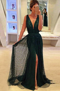 Sheath Deep V-Neck Sweep Train Dark Green Lace Sleeveless Prom Dress with Split Sequins RS697