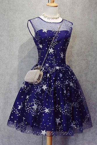 A Line Knee Length Beading Royal Blue Homecoming Dresses Short Bling Prom Dresses RS627