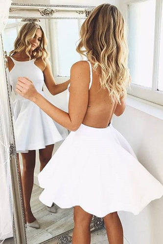 A Line White Backless Sleeveless Halter Satin Short Prom Dress Homecoming Dresses RS579
