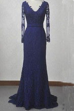 Load image into Gallery viewer, V-Neck Navy Blue Lace Mermaid Long Sleeves Open Back Floor-length Prom Dresses RS310