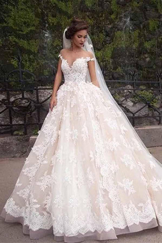Unique A Line Lace Appliques Cap Sleeves Ivory V Neck Beads Wedding Dresses RS839