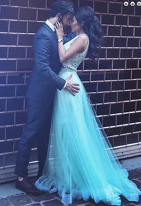 A-Line Two Pieces Sheath Round Neck Blue Tulle Prom Dresses with Lace Sequins Overskirt RS266