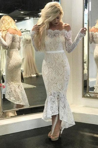 Mermaid Ivory Straight Across Floor-Length Long Sleeve Appliqued Lace Wedding Dresses RS473