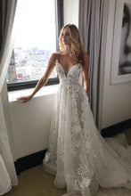 Load image into Gallery viewer, Sexy Tulle V-neck See-through Applique Beach Long Spaghetti Straps Wedding Dress