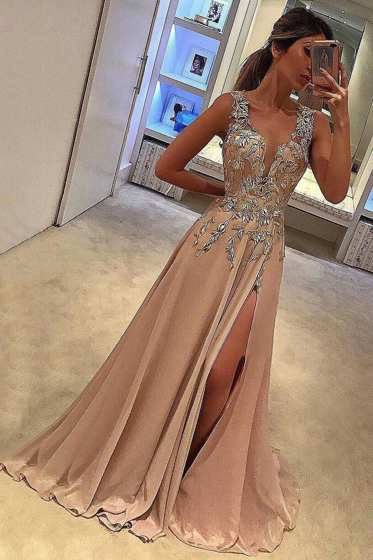 A-line V-neck Satin Brown Sweep Train Appliques Lace with Slit Sleeveless Prom Dresses RS691
