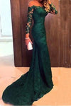 Mermaid Long Sleeves Lace Court Train Green Scoop Prom Dresses RS366