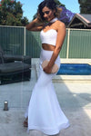 Sexy Two Piece Sweetheart Strapless Long White Satin Slit Mermaid Prom Dresses RS33