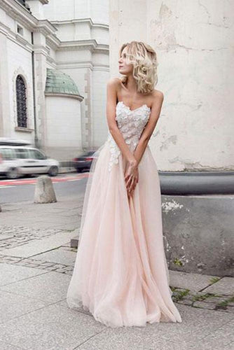 A Line Sweetheart Tulle Pink Prom Dresses with Appliques Beach Wedding Dresses RS970