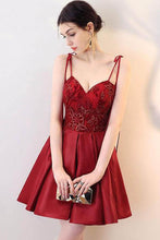 Load image into Gallery viewer, A Line Burgundy V Neck Lace Spaghetti Straps Short Prom Dresses Homecoming Dresses RS966