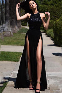 Elegant Hater Sexy High Side Slit Black Chiffon Sequins Long Prom Dresses RS900