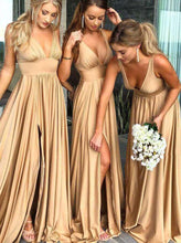 Load image into Gallery viewer, Elegant A-Line V-Neck Elastic Satin Backless Ruffles Sleeveless Bridesmaid Dress with Split RS757