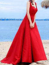 Load image into Gallery viewer, Sexy Elegant Red A-line Halter Satin Sweetheart Lace Up Simple Prom Dresses RS324