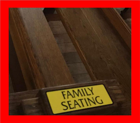 Family Seating Graphic. Laminated with a Protective Washable Film