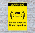 Warning 2m Distance Poster