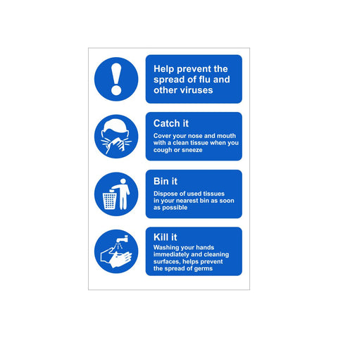 Prevent Spread of Flu & Viruses Safety Sign