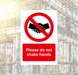 Do Not Shake Hands Safety Sign