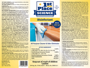 TEMPORARILY SOLD OUT! 1st Place Science Disinfectant, 330 Gal Tote, 1 Count, Cost Per Oz $0.24