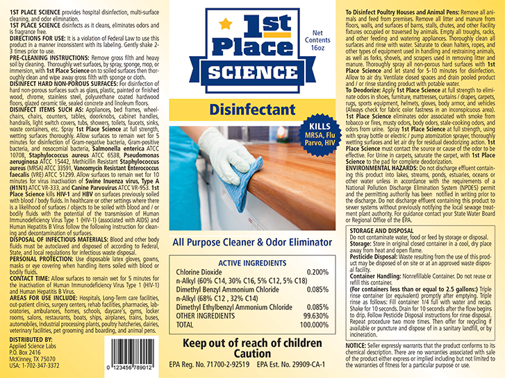 Case of 1st Place Science Disinfectant, 1 Gal, 4 Count, Cost Per Oz $0.39