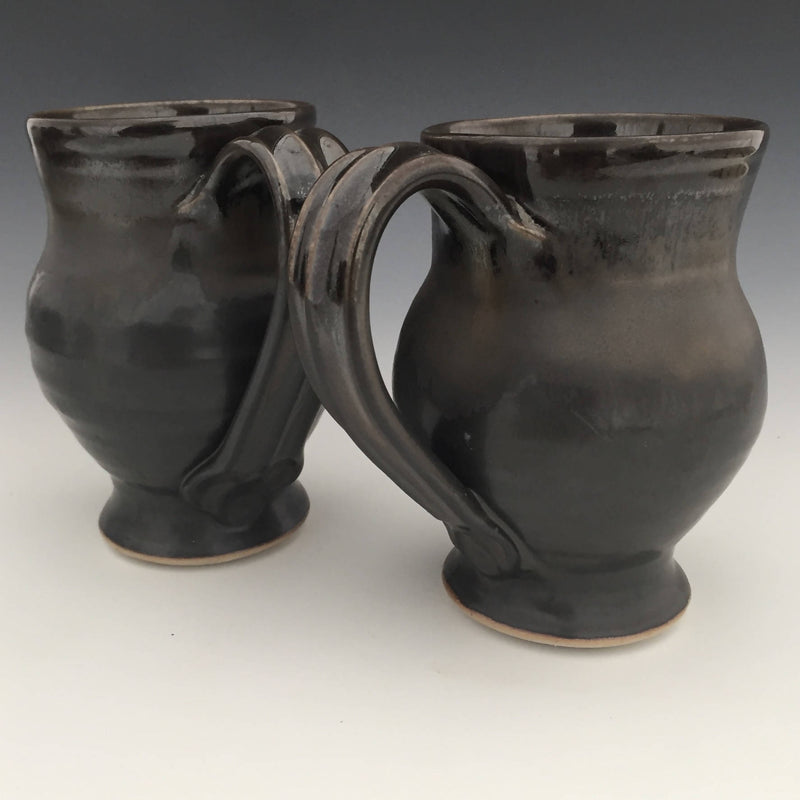 Set of 2 Large Mugs in Matte black and Sheige black