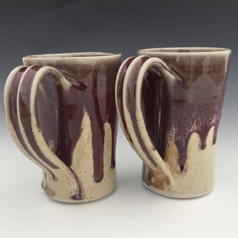 Set of 2 Latte Mugs in Honey luster and Copper red