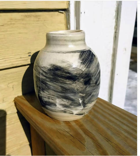 Black and white slip detail vase