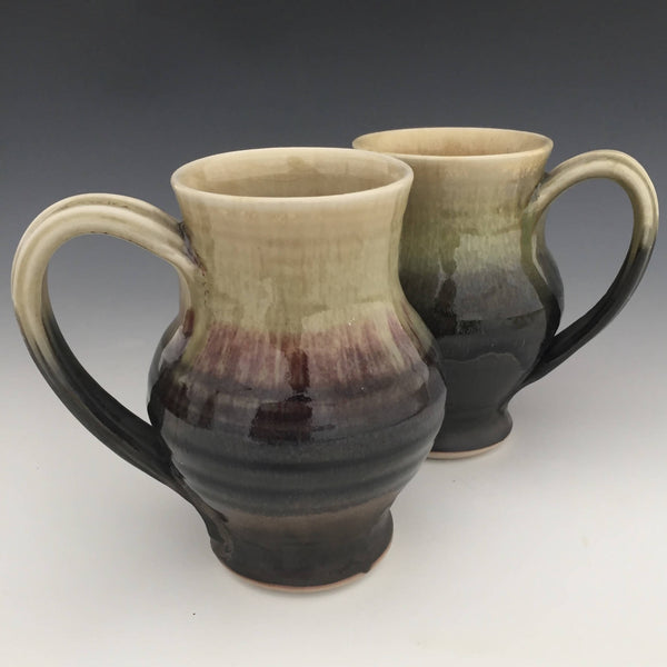 Set of 2 Large Mugs in Matte black and Honey luster
