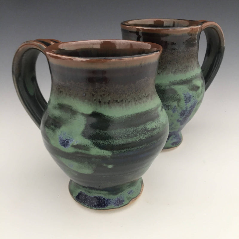 Set of 2 Large Mugs in Tenmoku brown and Ritz green