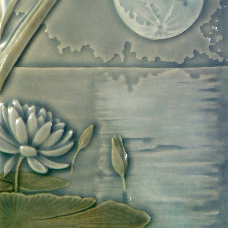 Dragonfly Moon, handcrafted art tile, stoneware.