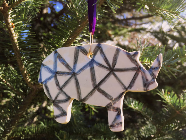 Polygon Rhinoceros Ornament