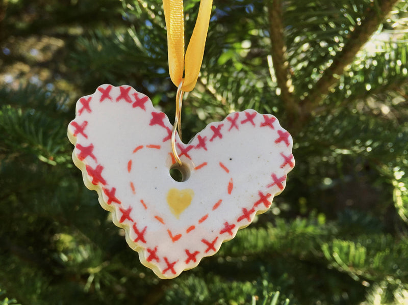 Cross Stitch Heart Ornament