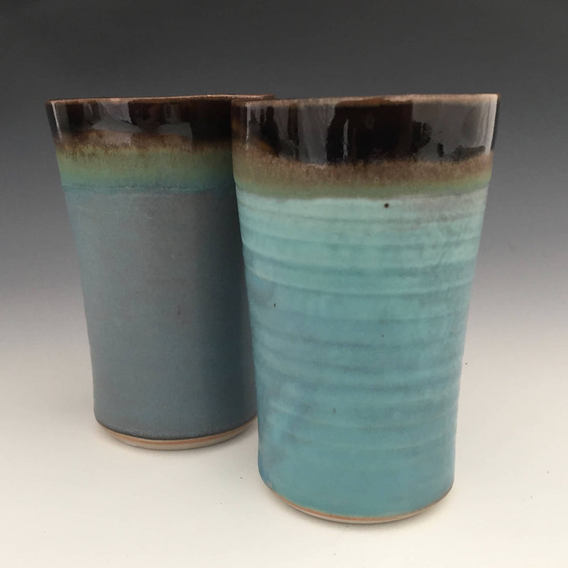 Set of 2 Tall Tumblers in Tenmoku brown and turquoise