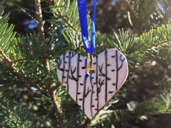 Birch Trees Heart Ornament