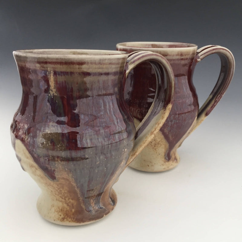 Set of 2 Large Mugs in Honey luster and Copper red