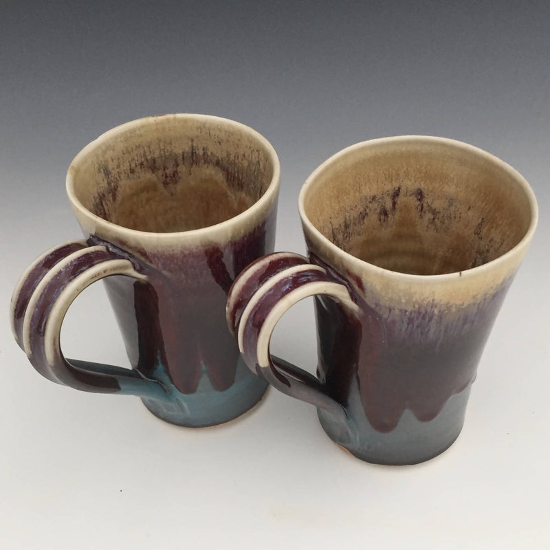 Set of 2 Latte Mugs in Turquoise, Honey luster and Copper red