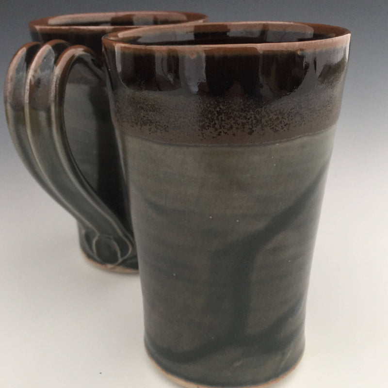 Set of 2 Latte Mugs in Tenmoku brown and rustic green