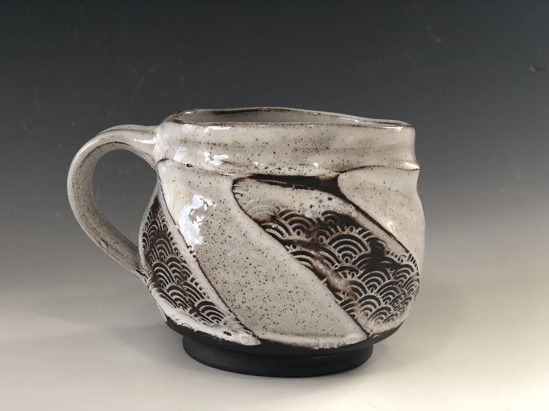 White glaze with textures showing through