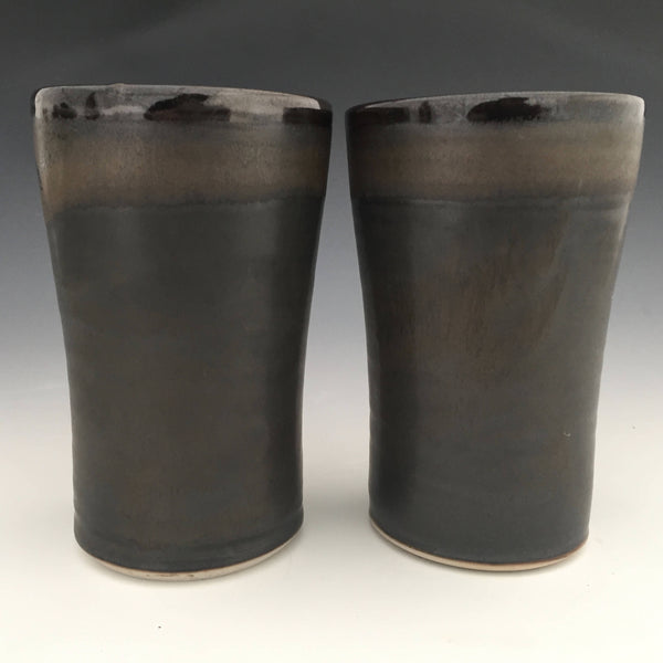 Set of 2 Tall Tumblers in Matt Black and Shiege Black