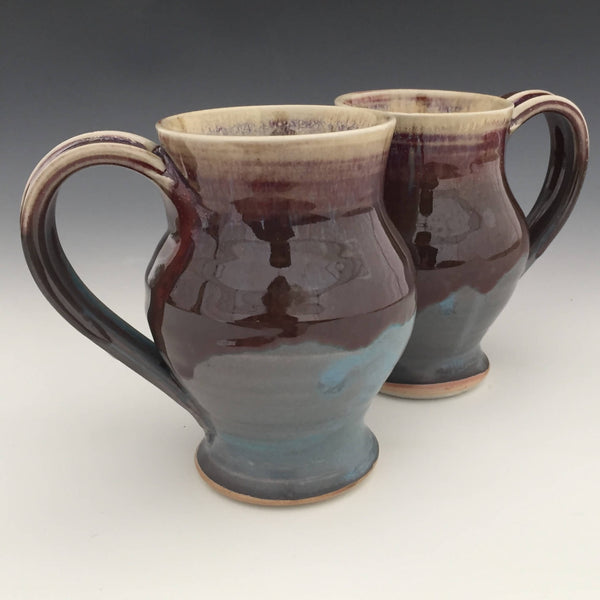 Set of 2 Large Mugs in Turquoise, Honey luster and Copper red