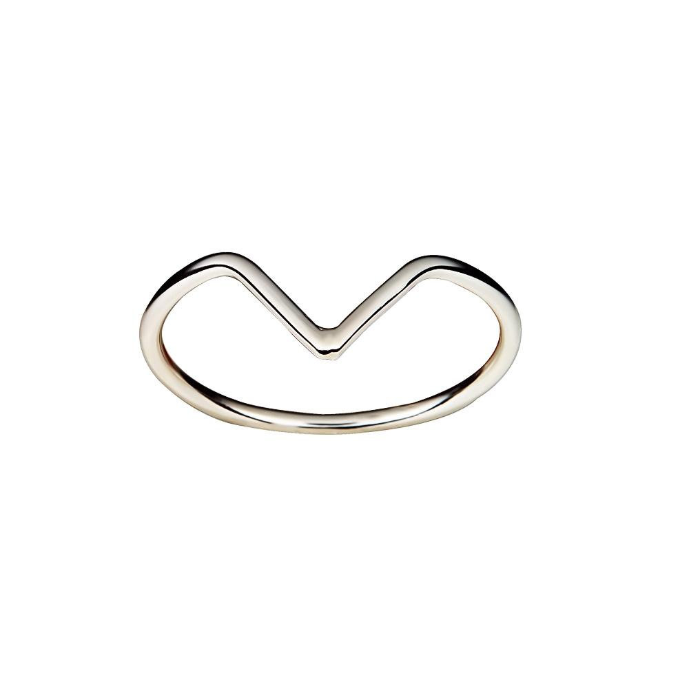 Silver V shaped ring