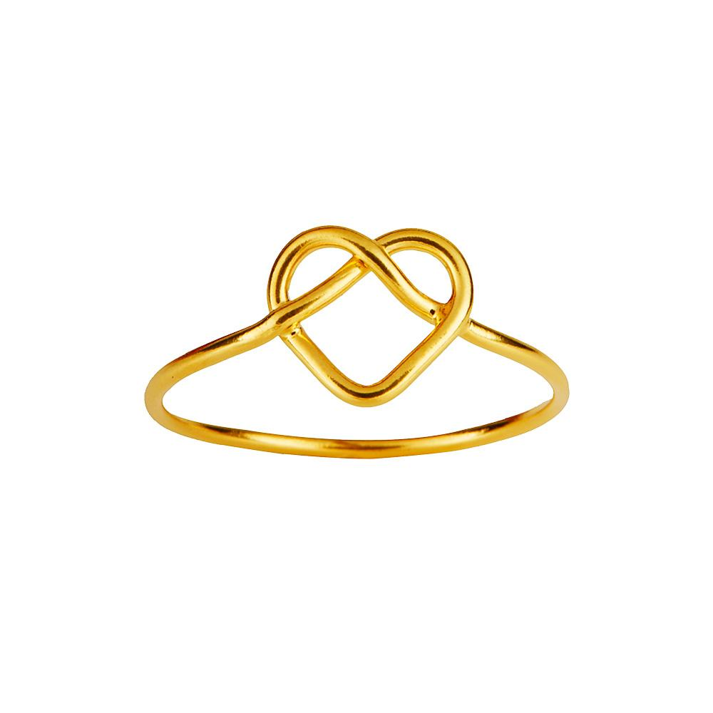 Gold plated braided heart ring
