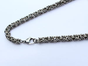 mens byzantine silver stainless steel necklace san filippo leather