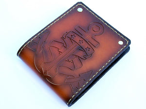 custom leather anchor bifold wallet personalized sailor by San Filippo Leather