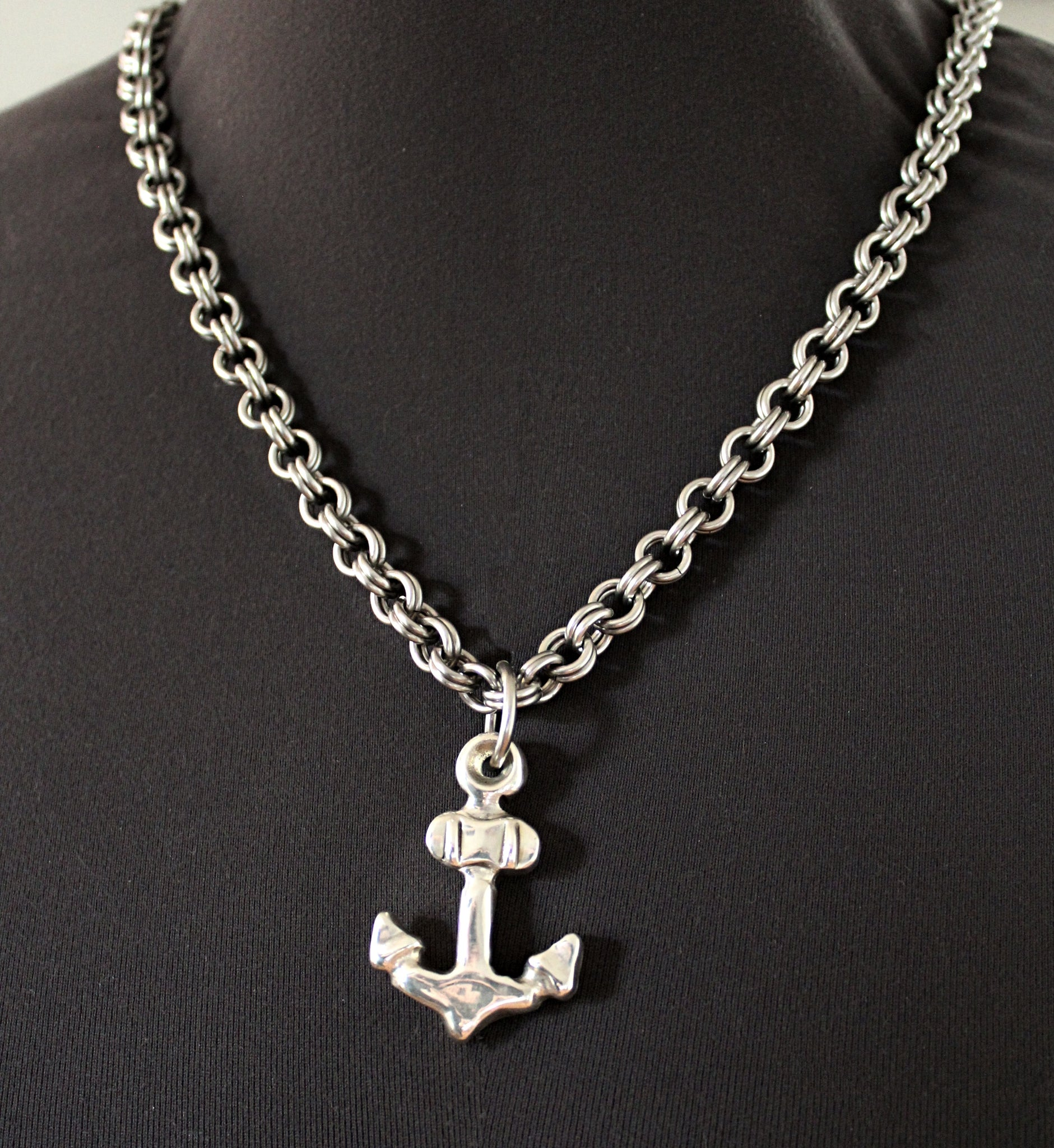 sterling silver anchor pendant with thick chain by san filippo leather