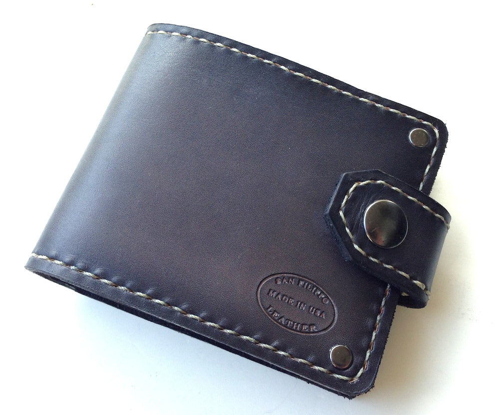 custom dyed grey gray leather bifold wallet men's by san filippo leather