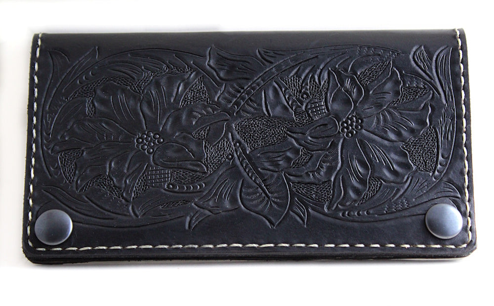 hand tooled sheridan traditional floral leather wallet by san filippo leather