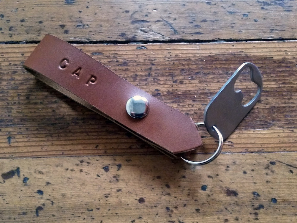 Stainless steel bottle opener leather key chain personalized