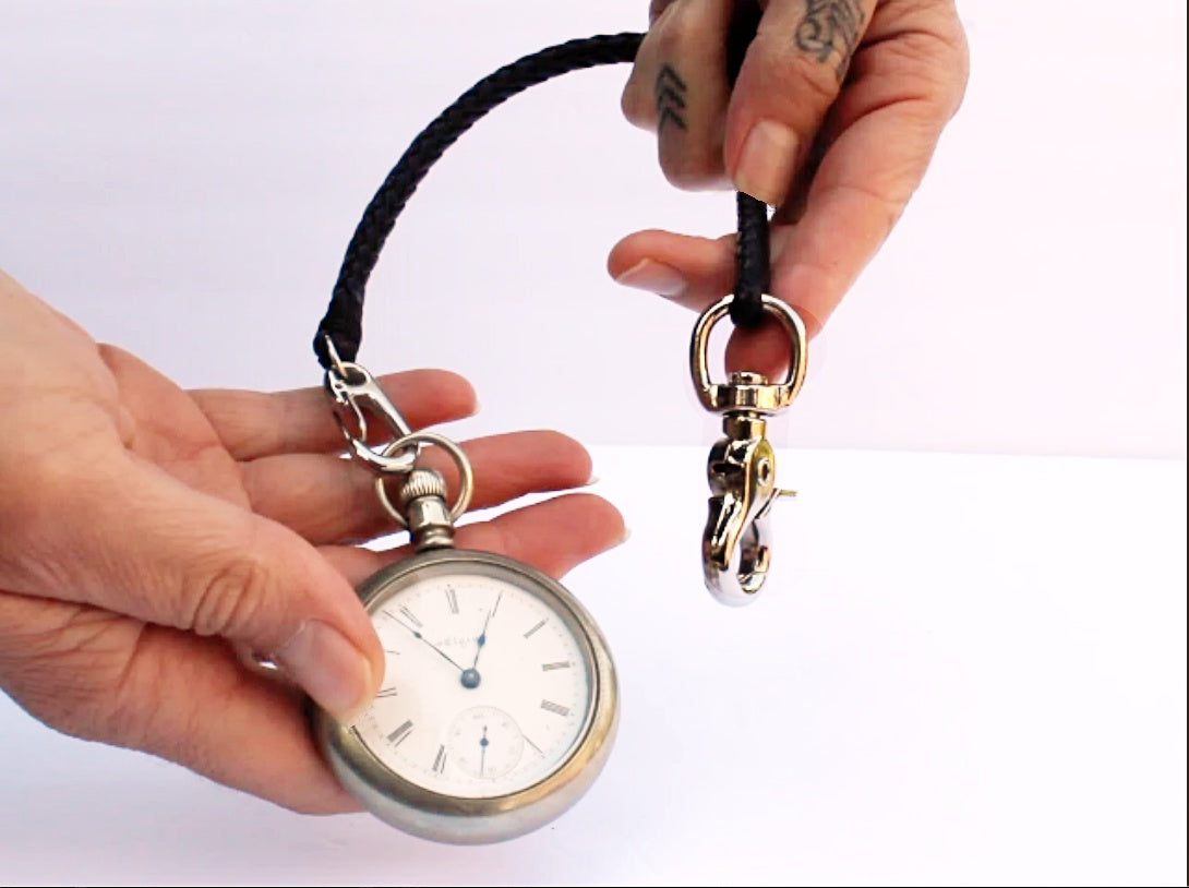 Braided Leather Pocket Watch Chain