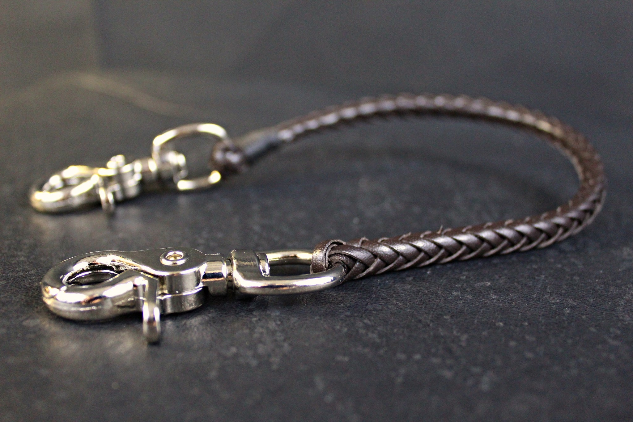 Braided leather wallet chain san filippo leather