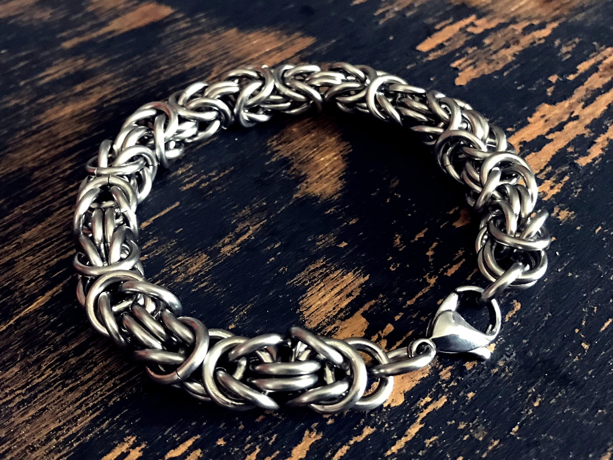 Mens Byzantine Thick Silver Stainless Steel Bracelet By San Filippo Leather